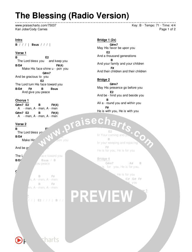 The Blessing (Radio) Chords & Lyrics (Kari Jobe / Cody Carnes)