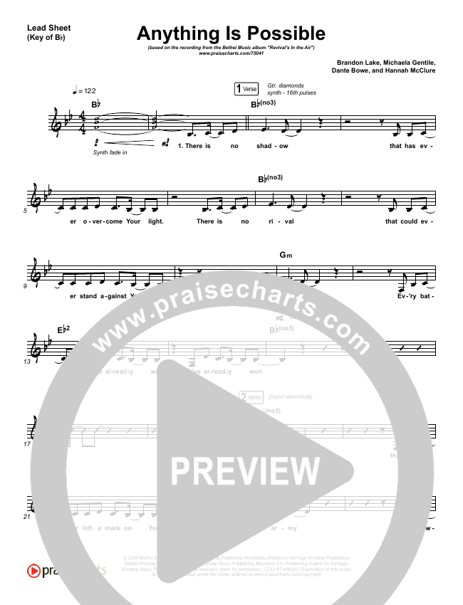 Anything Is Possible (Live) Lead Sheet (Melody) (Bethel Music / Dante Bowe)