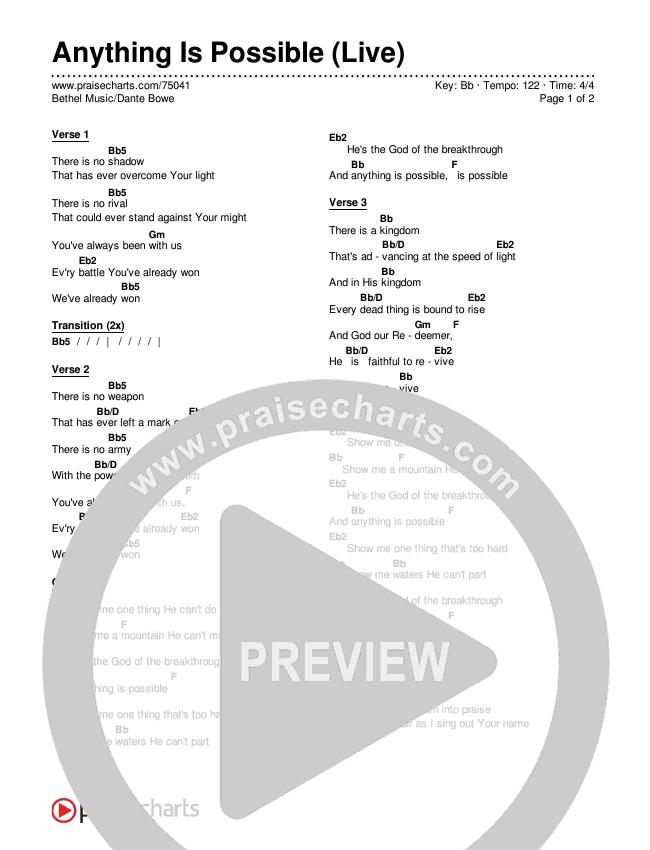 Anything Is Possible (Live) Chords & Lyrics (Bethel Music / Dante Bowe)