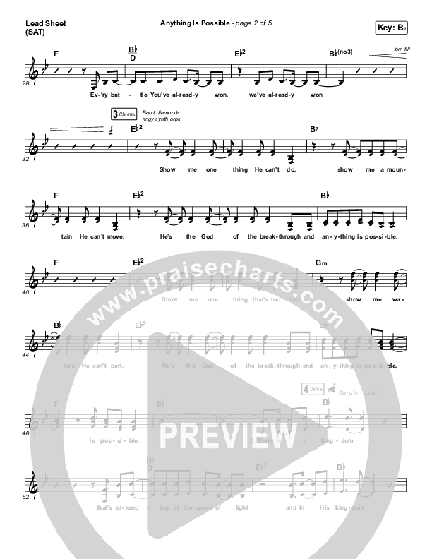 Anything Is Possible (Live) Lead Sheet (SAT) (Bethel Music / Dante Bowe)
