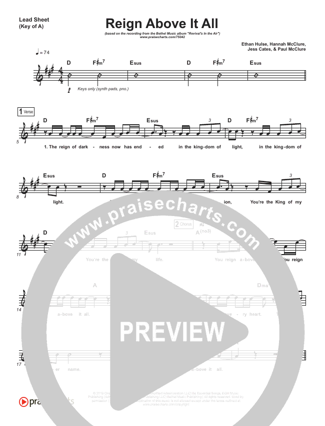 Reign Above It All (Live) Lead Sheet (Melody) (Bethel Music / Paul McClure)