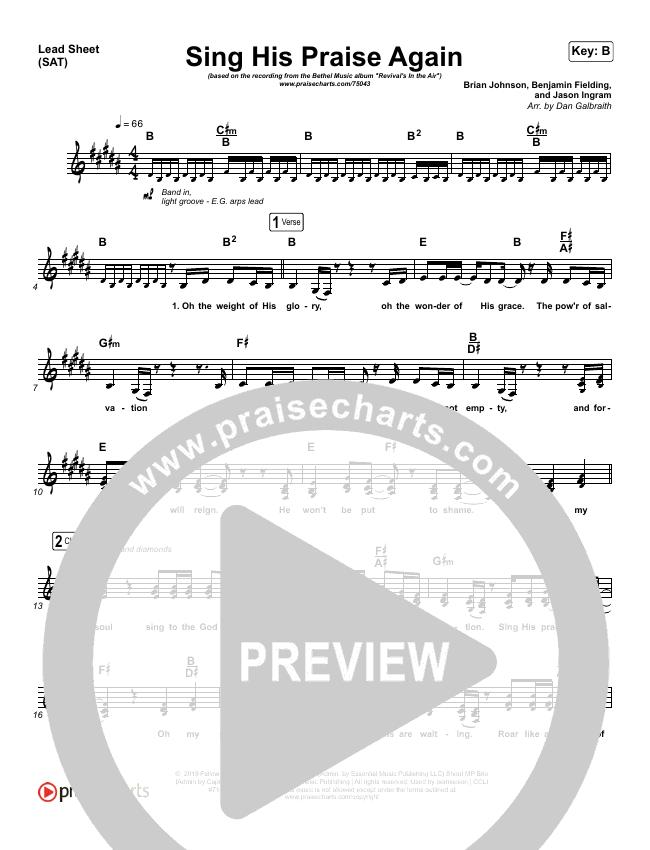 Sing His Praise Again (Oh My Soul) (Live) Lead Sheet (SAT) (Bethel Music / Jenn Johnson)