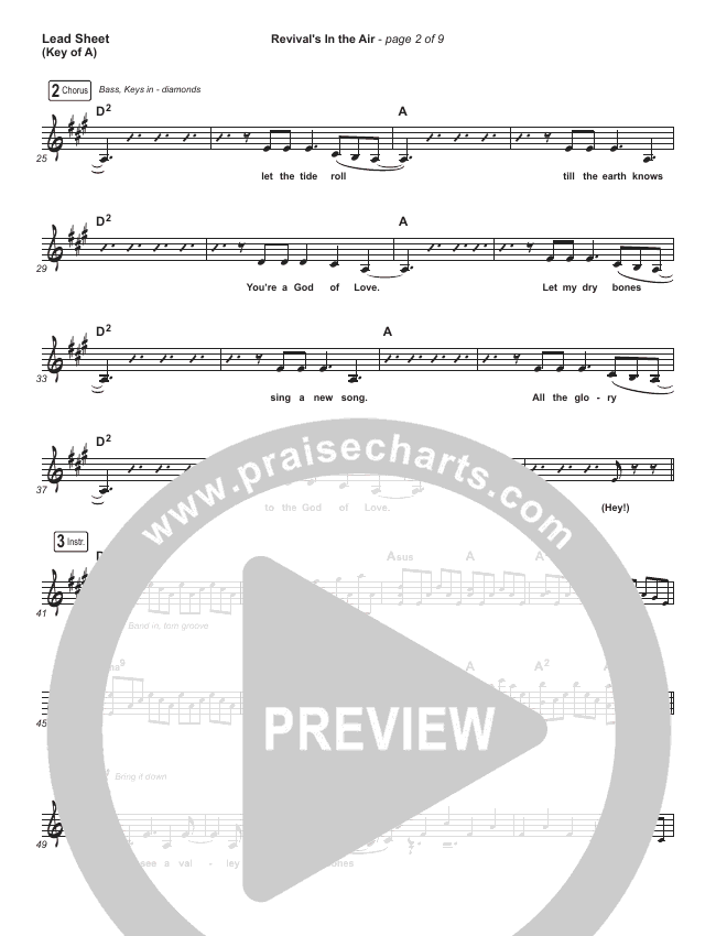 Revival's In The Air (Live) Lead Sheet (Melody) (Bethel Music / Melissa Helser)