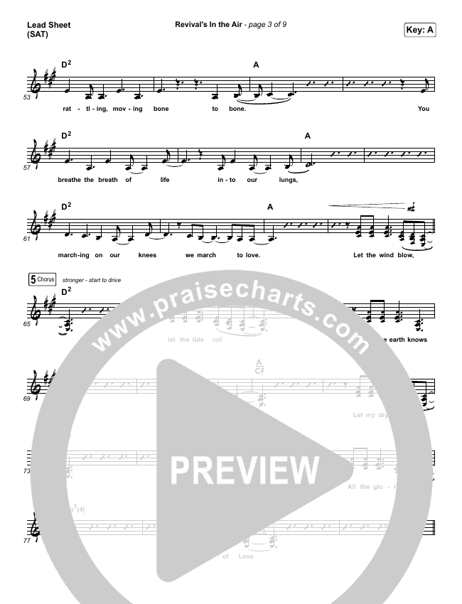 Revival's In The Air (Live) Lead Sheet (SAT) (Bethel Music / Melissa Helser)