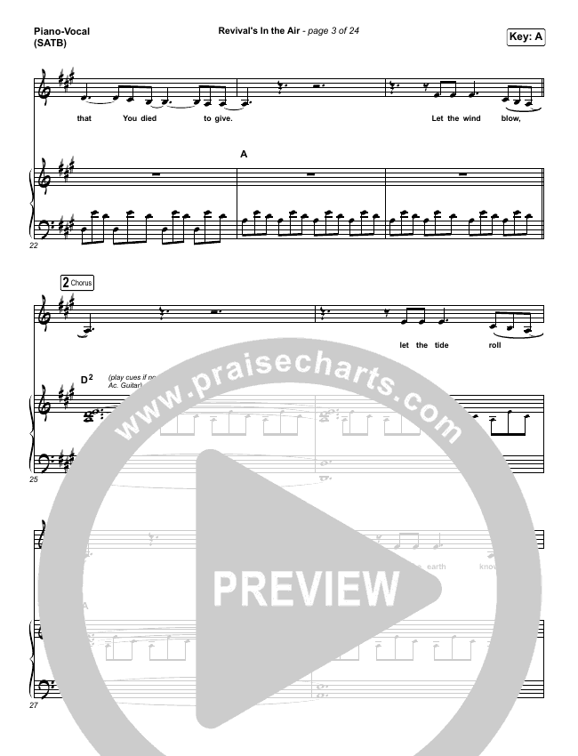 Revival's In The Air (Live) Piano/Vocal (SATB) (Bethel Music / Melissa Helser)