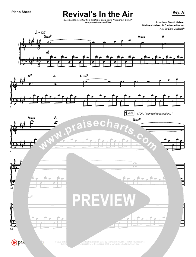 Revival's In The Air (Live) Piano Sheet (Bethel Music / Melissa Helser)