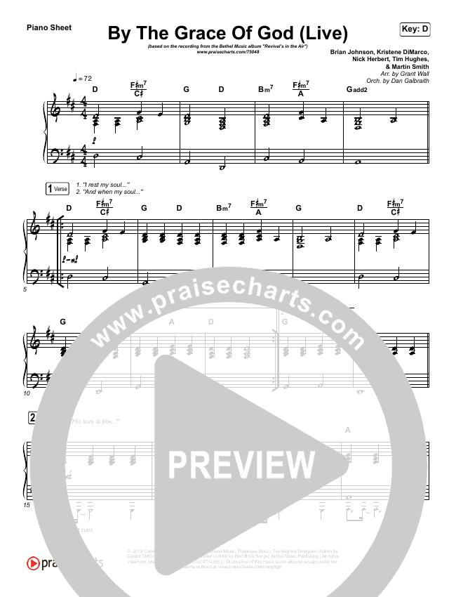 By The Grace Of God (Live) Piano Sheet (Bethel Music / Brian Johnson / Jenn Johnson)