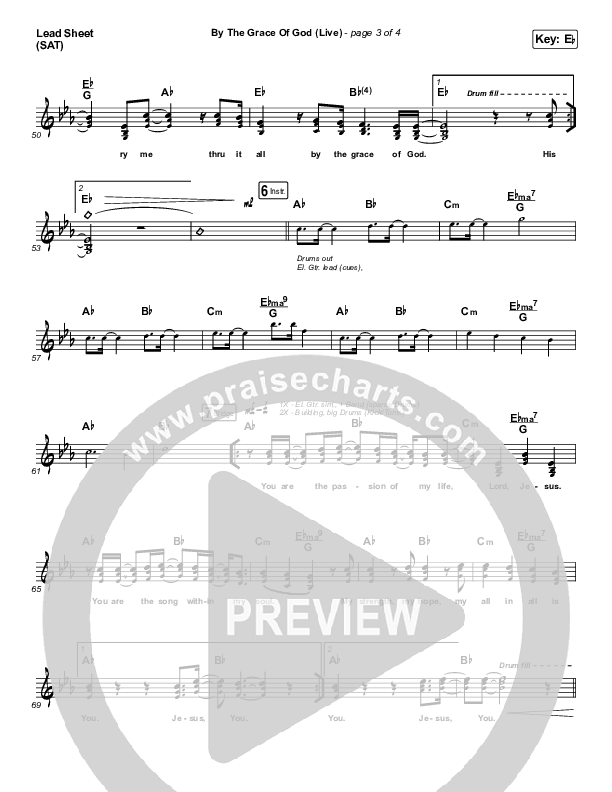 By The Grace Of God (Live) Lead Sheet (SAT) (Bethel Music / Brian Johnson / Jenn Johnson)