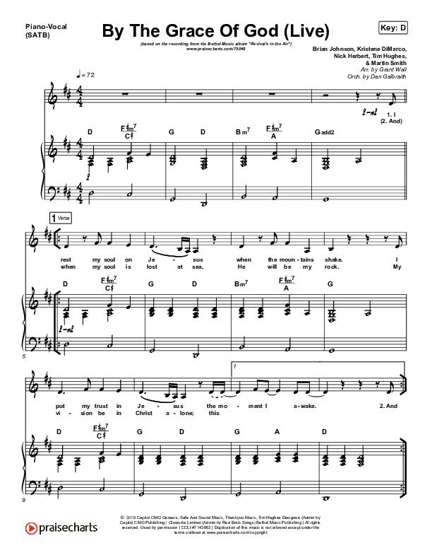 By The Grace Of God (Live) Piano/Vocal (SATB) (Bethel Music / Brian Johnson / Jenn Johnson)