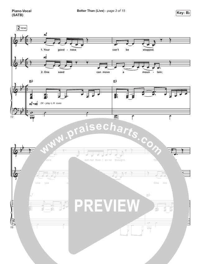 Better Than (Live) Piano/Vocal (SATB) (Bethel Music / Melissa Helser / Jonathan David Helser)