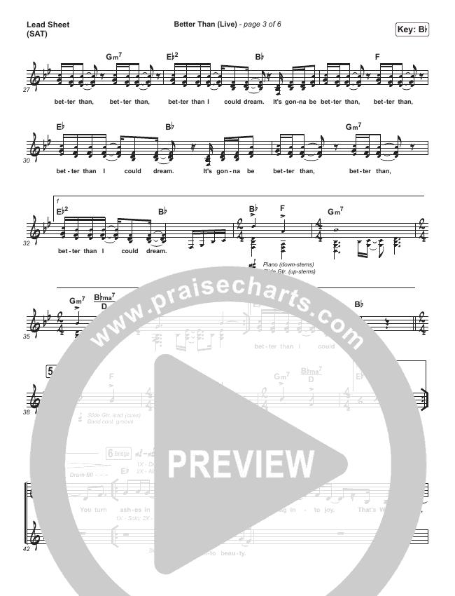 Better Than (Live) Piano/Vocal Pack (Bethel Music / Melissa Helser / Jonathan David Helser)
