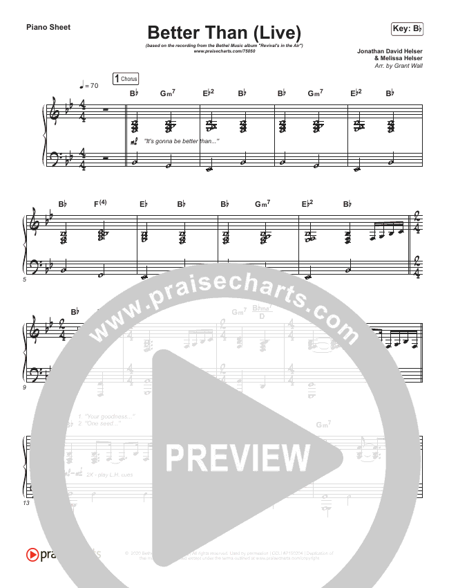 Better Than (Live) Piano Sheet (Bethel Music / Melissa Helser / Jonathan David Helser)
