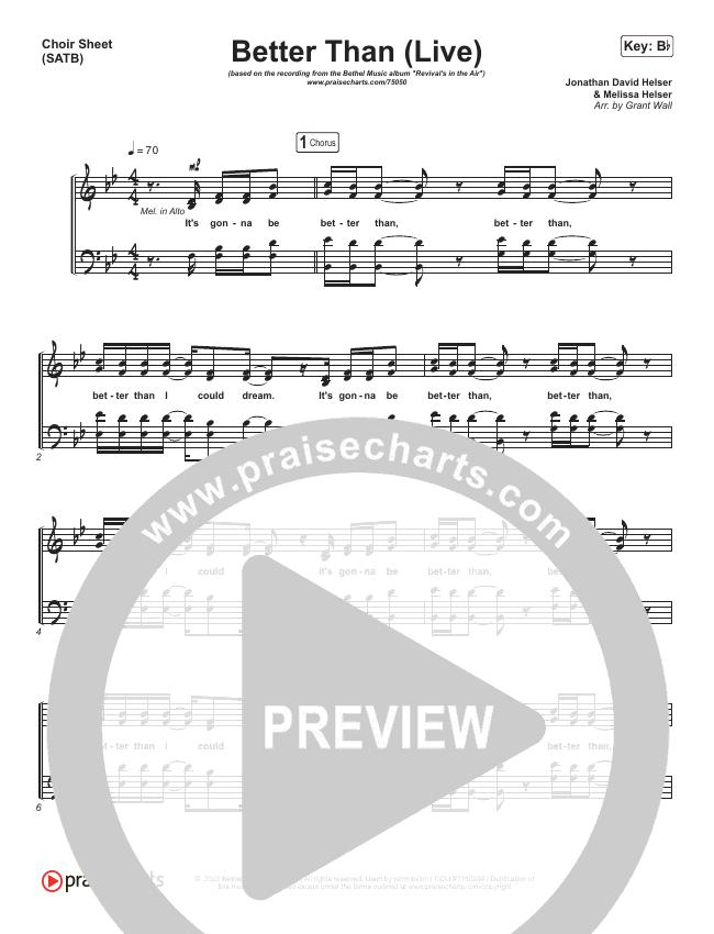 Better Than (Live) Choir Sheet (SATB) (Bethel Music / Melissa Helser / Jonathan David Helser)