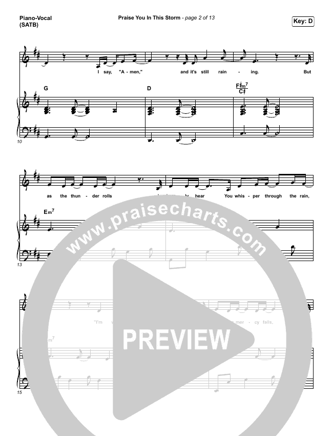 Praise You In This Storm Piano/Vocal (SATB) (Natalie Grant)