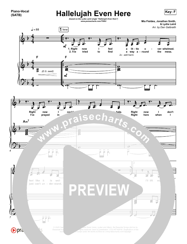 Hallelujah Even Here Piano/Vocal (SATB) (Lydia Laird)