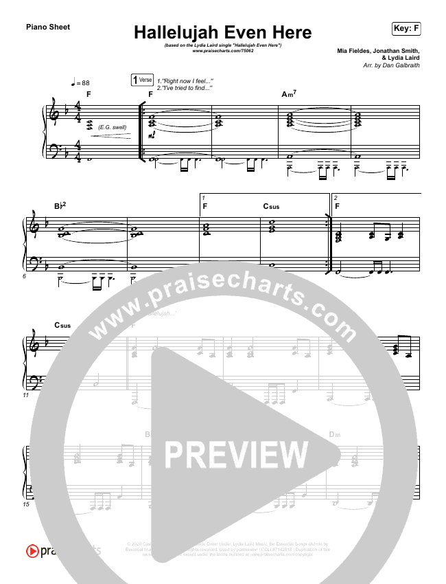 Hallelujah Even Here Piano Sheet (Lydia Laird)