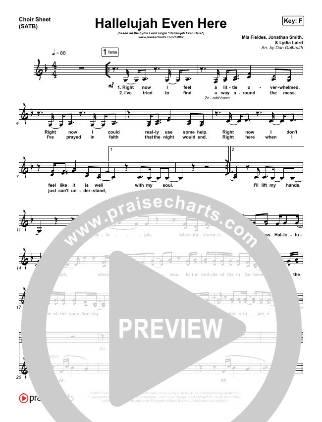 Hallelujah Even Here Choir Sheet (SATB) (Lydia Laird)