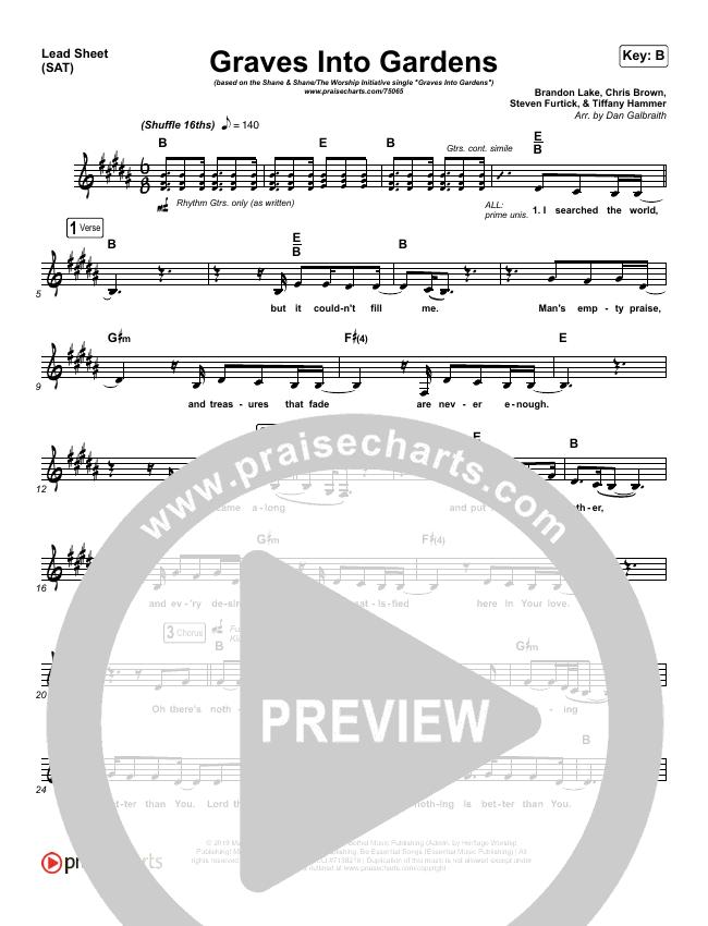 Graves Into Gardens Lead Sheet (SAT) (Shane & Shane/The Worship Initiative)