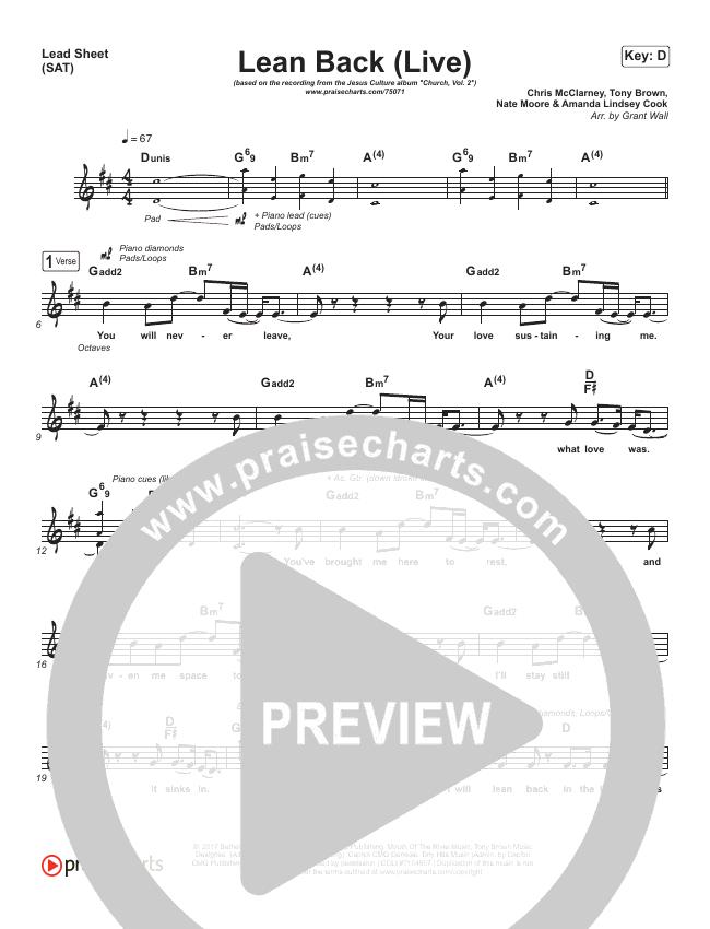 Lean Back (Live) Lead & Piano/Vocal (Jesus Culture / Chris McClarney / Katie Torwalt)
