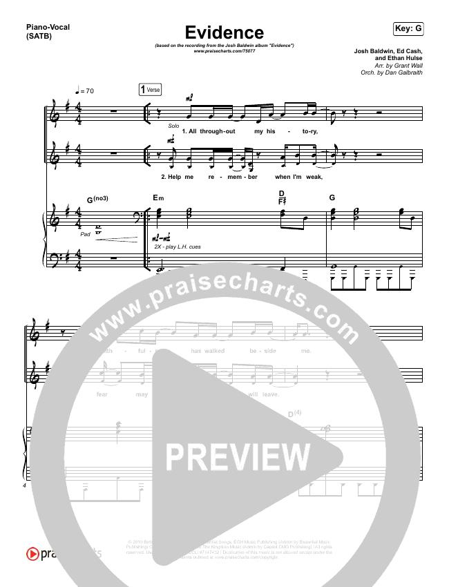 Evidence Piano/Vocal (SATB) (Josh Baldwin)