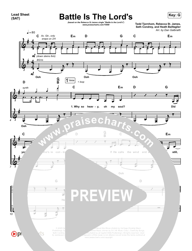 Battle Is The Lord's Lead Sheet (SAT) (Rebecca St. James / Brandon Lake)