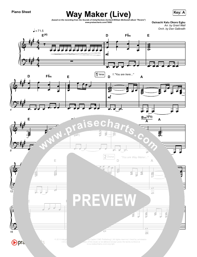 Way Maker (Live) Piano Sheet (Sounds Of Unity / Darlene Zschech / William McDowell / REVERE)