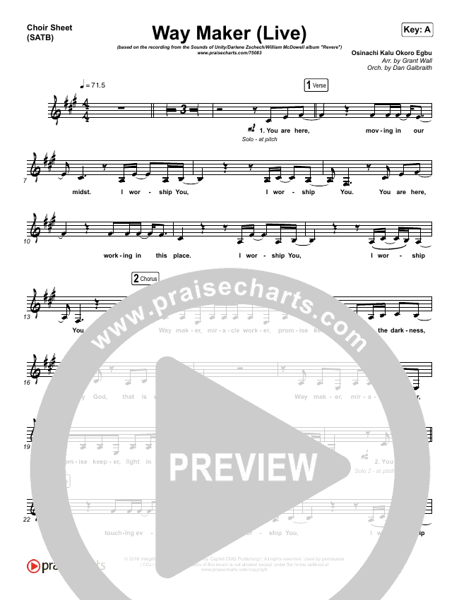 Way Maker (Live) Choir Sheet (SATB) (Sounds Of Unity / Darlene Zschech / William McDowell / REVERE)