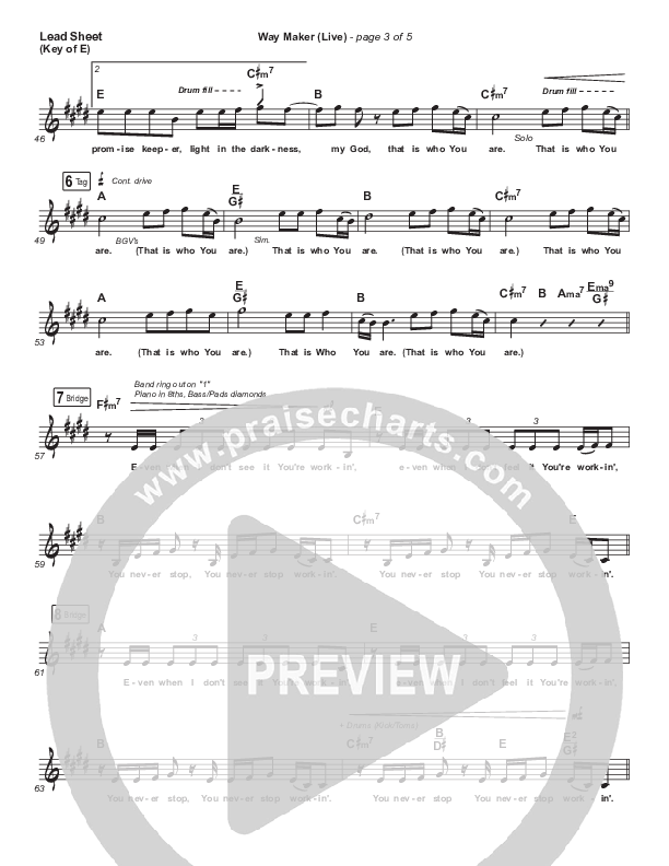 Way Maker (Live) Lead Sheet (Melody) (Sounds Of Unity / Darlene Zschech / William McDowell / REVERE)