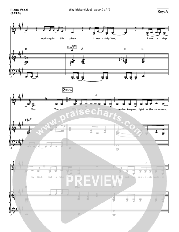 Way Maker (Live) Piano/Vocal (SATB) (Sounds Of Unity / Darlene Zschech / William McDowell / REVERE)
