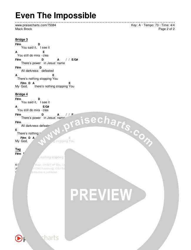 Even The Impossible (Studio) Chords & Lyrics (Mack Brock)
