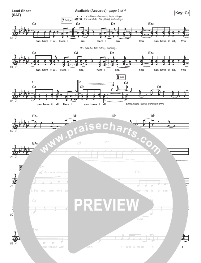 Available (Acoustic) Lead Sheet (SAT) (Elevation Worship)