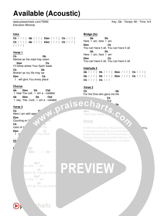 Available (Acoustic) Chords & Lyrics (Elevation Worship)