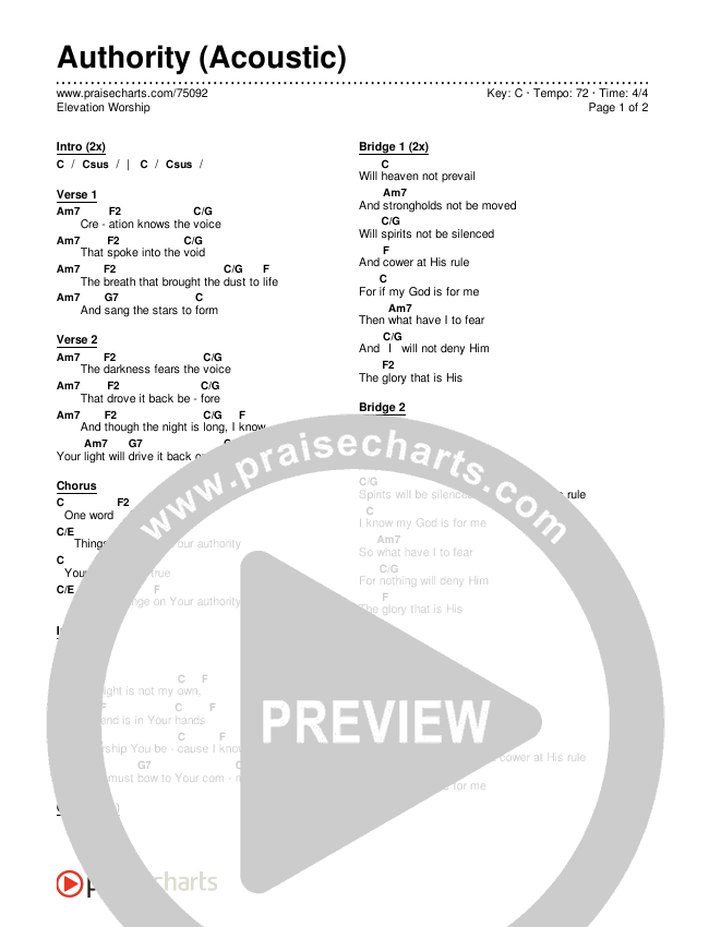 Authority (Acoustic) Chords & Lyrics (Elevation Worship)