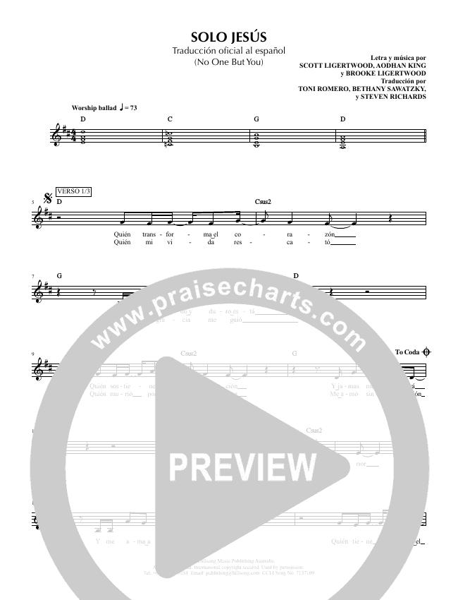 Solo Jesus (No One But You) Lead Sheet (SAT) (Hillsong en Espanol / Hillsong Worship)