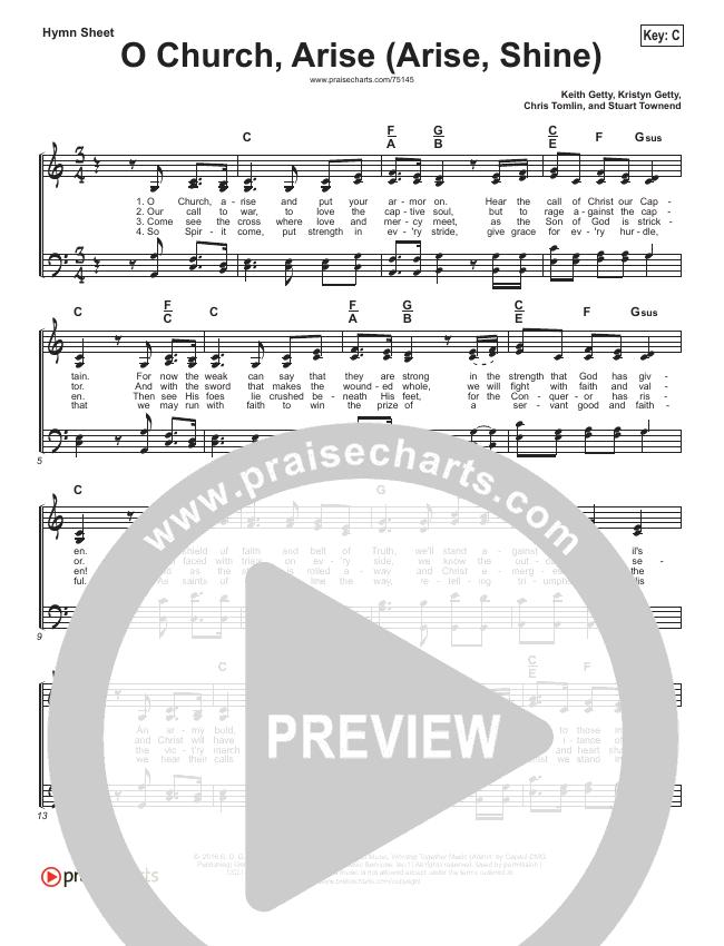 O Church Arise Hymn Sheet (Keith & Kristyn Getty / Shane & Shane)
