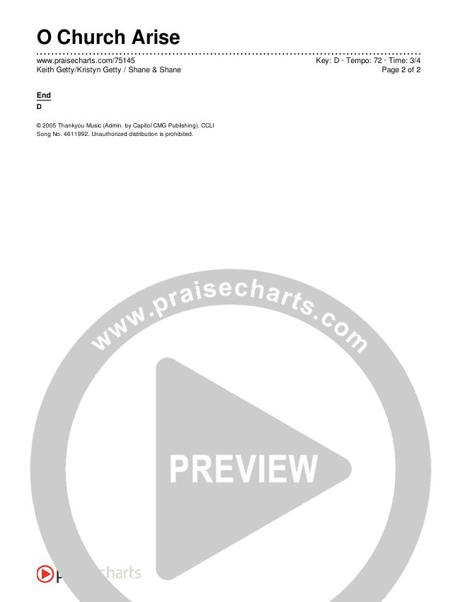 O Church Arise Chords & Lyrics (Keith & Kristyn Getty / Shane & Shane)