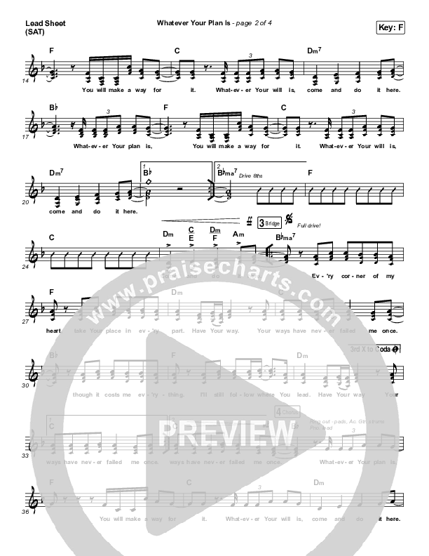 Whatever Your Plan Is (YouTube) Lead Sheet (SAT) (Bethel Music / Josie Buchanan)