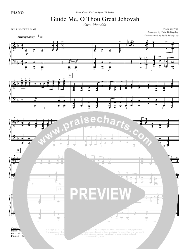 Guide Me O Thou Great Jehovah Piano Sheet (Todd Billingsley)