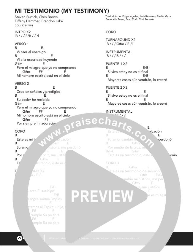 Mi Testimonio (My Testimony) Chord Chart (Elevation Worship)