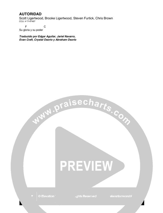 Autoridad (Authority) Chord Chart (Elevation Worship)
