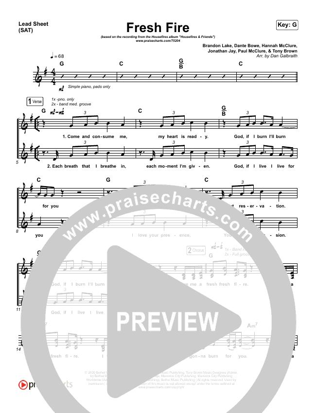 Fresh Fire Lead Sheet (SAT) (Housefires / Nate Moore)