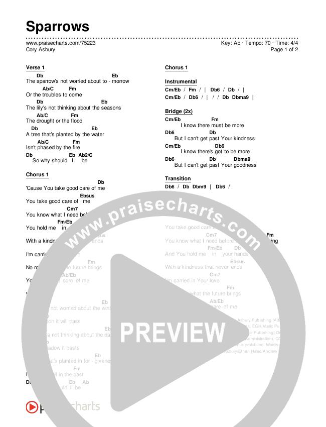 Sparrows Chords & Lyrics (Cory Asbury)