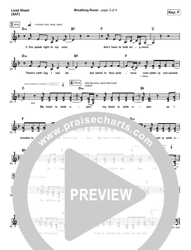 Breathing Room (Live) Lead Sheet (SAT) (Kim Walker-Smith)
