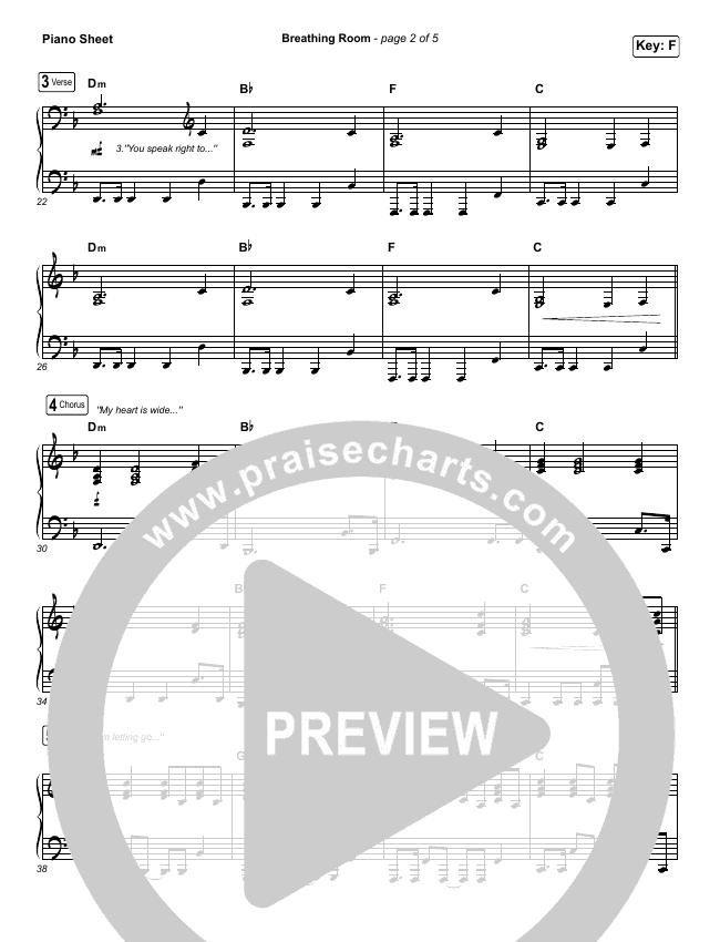 Breathing Room (Live) Piano Sheet (Kim Walker-Smith)