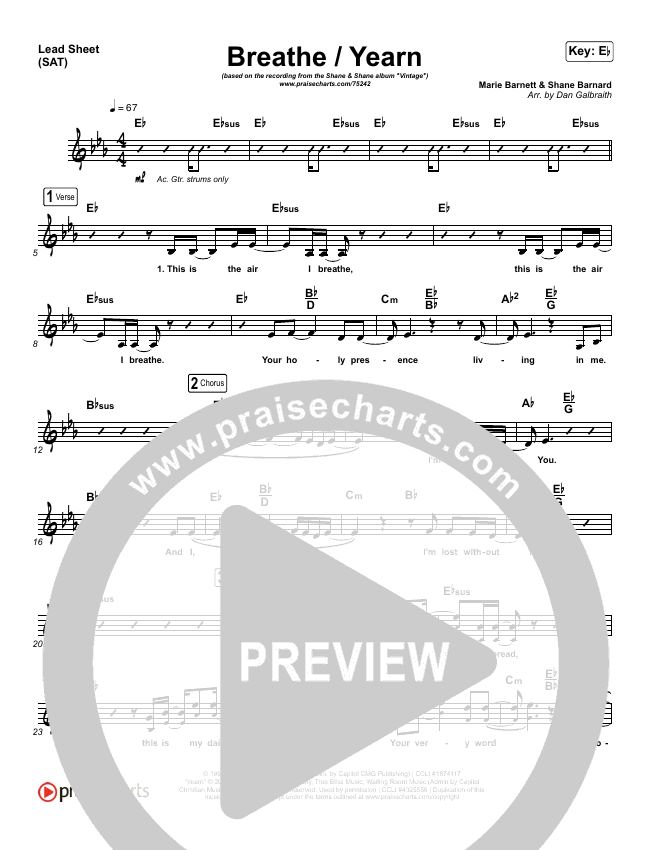 Breathe / Yearn Lead Sheet (SAT) (Shane & Shane)
