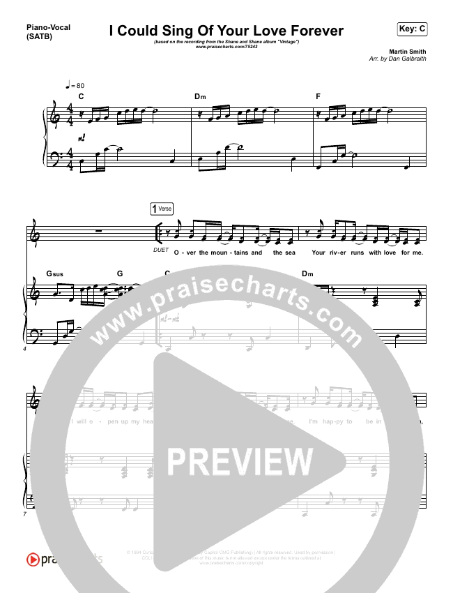 I Could Sing Of Your Love Forever Piano/Vocal (SATB) (Shane & Shane)