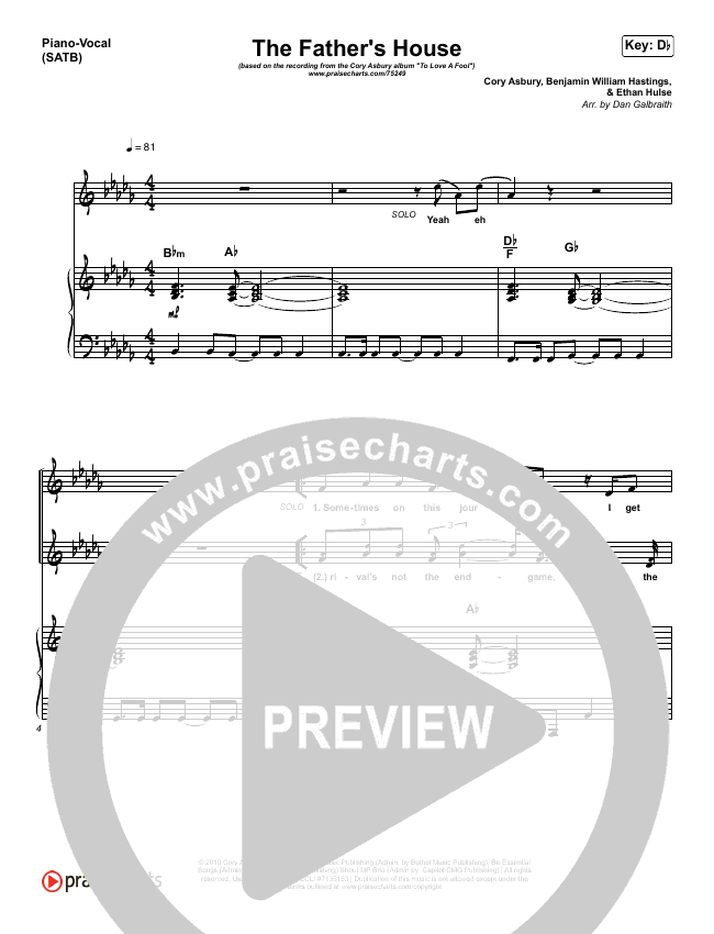 The Father's House Piano/Vocal (SATB) (Cory Asbury)