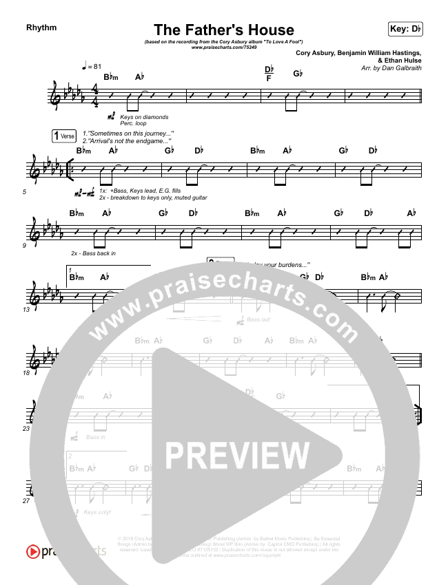 The Father's House Rhythm Chart (Cory Asbury)