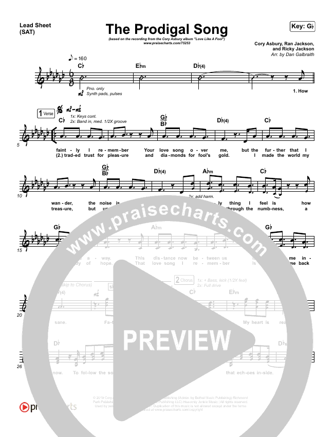 The Prodigal Song Lead Sheet (SAT) (Cory Asbury)