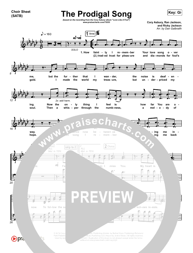 The Prodigal Song Choir Sheet (SATB) (Cory Asbury)